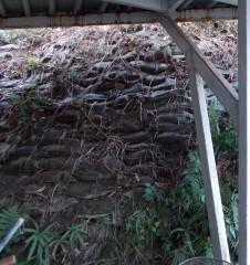 日野公園墓地土嚢が積まれている
