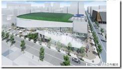 メインアリーナ外観その3ホテルは右手前横浜文化体育館再整備事業落札者提案