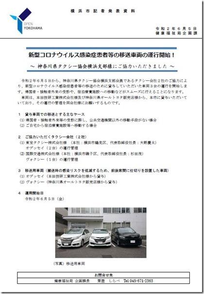 タクシー協会のご協力で新型コロナウイルス感染症患者等のタクシーでの移送が可能に